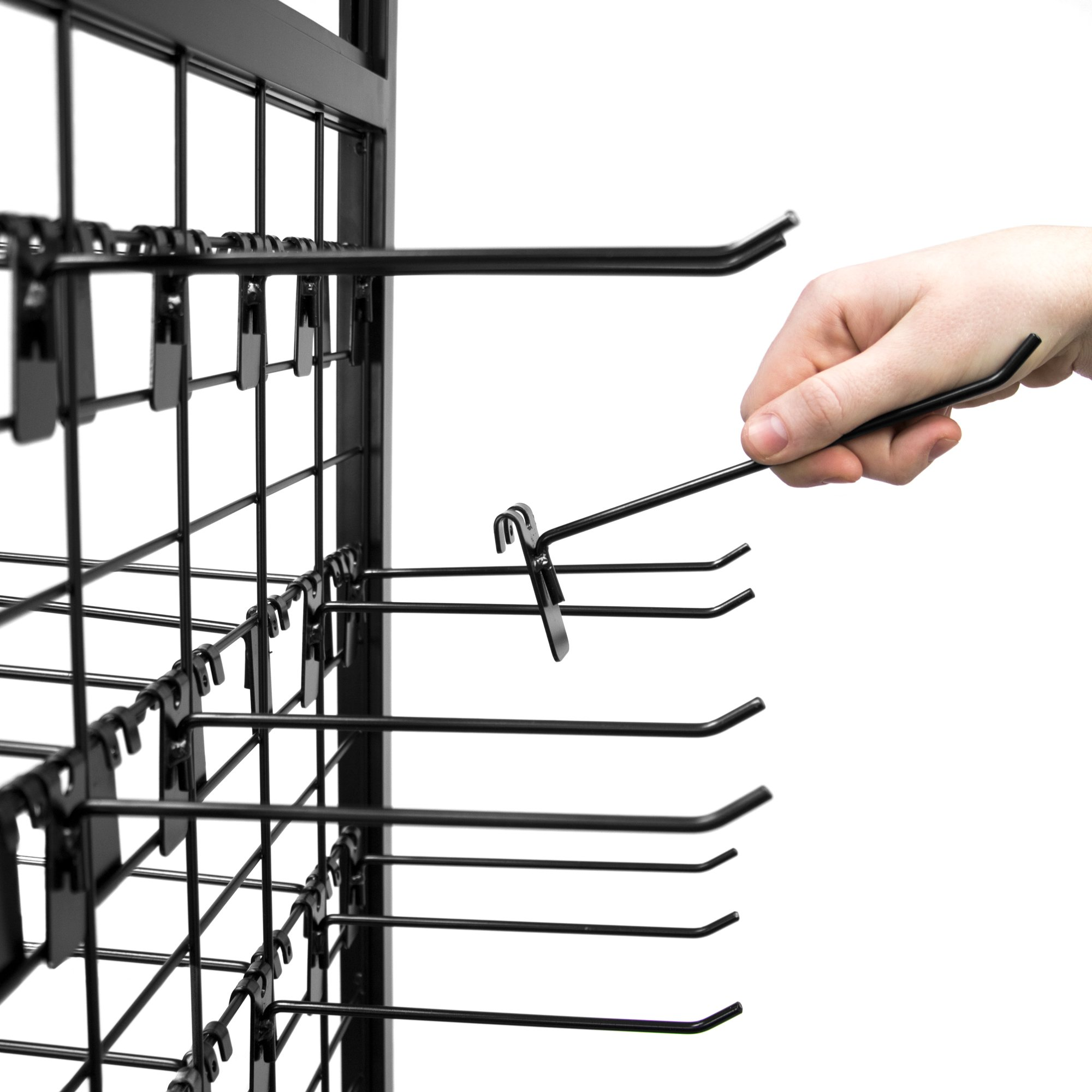 Rolling Retail Display Merchandising Rack Store Fixture, 66'' Tall x 28'' Footprint, Includes 50 Peg Hooks and 4 Shelves by Brybelly by Brybelly (Image #2)