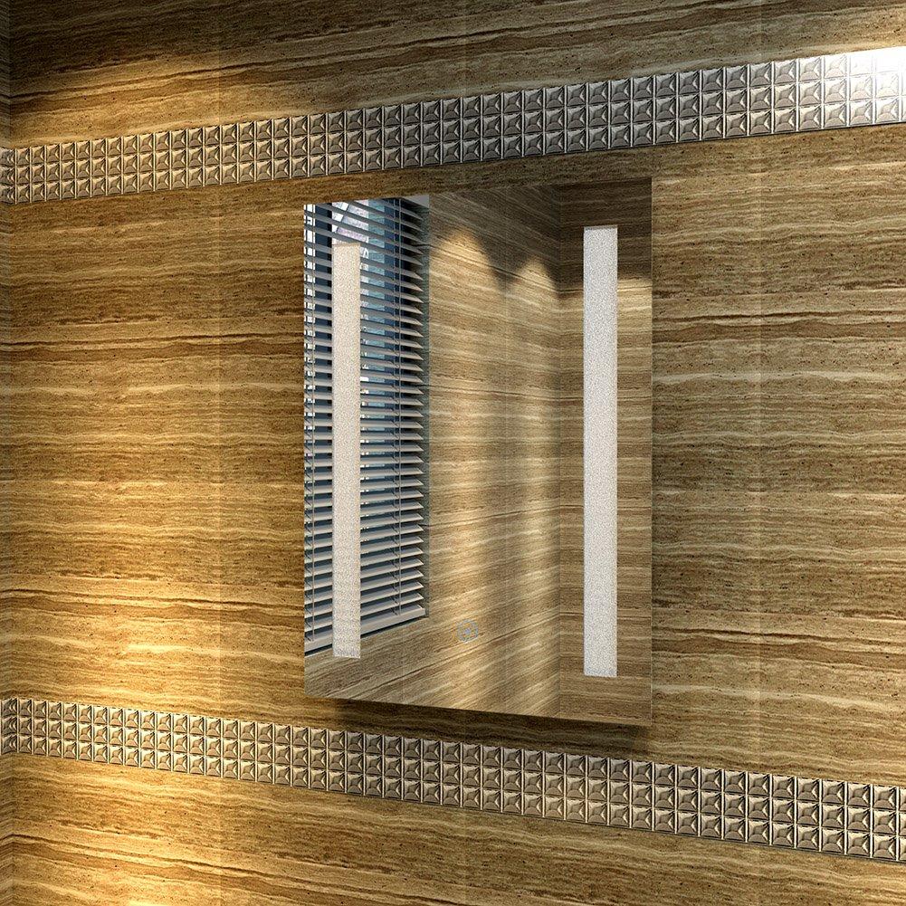 45*60cm sunnyshowers 100x 70cm Classe énergétique A + LED Salle de Bain Miroir éclairage LED basse consommation Blanc chaud Protection IP44anti-buée