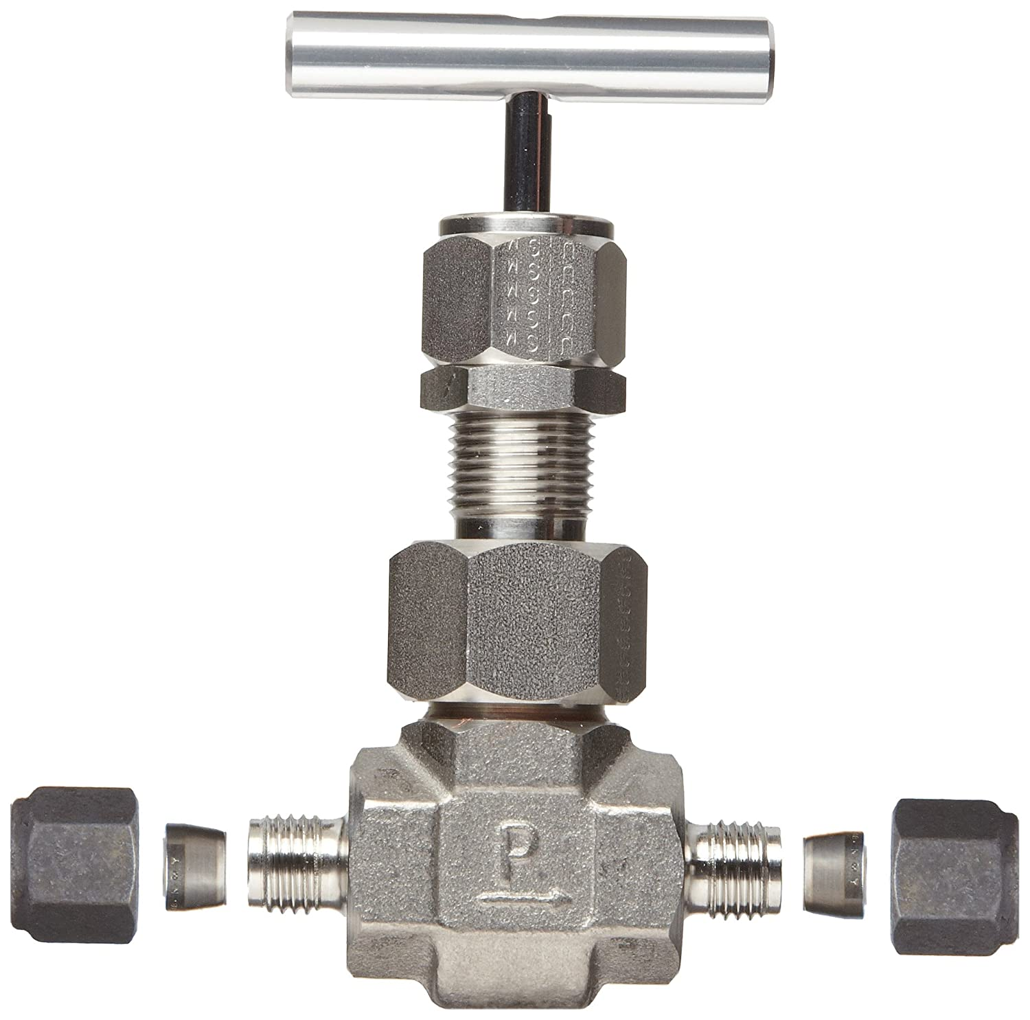 Regulating Stem Parker U Series Stainless Steel 316 High Temperature Needle Valve T-Bar Handle Inline 1 CPI Compression Fitting