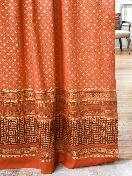 Saffron Marigold Shimmering Goldstone Burnt Orange Long Curtains   Indian  Sari Patchwork Curtains Printed Gold Drapes for Living Room, Bedroom, Rust  ...