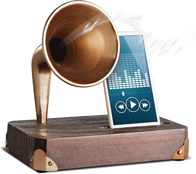 Sharper Image - Base de madera para smartphone con amplificador de ...