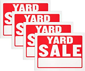 Yard Sale Sign - Waterproof Flexible Plastic, Red and White, 9 x 12 Inches, Heavy Duty Tags for Car Sales, Garage, Advertising Signage (Pack of 4) - By Hespex