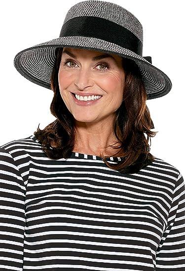 ff280898777 Coolibar UPF 50+ Women s Asymmetrical Clara Sun Hat - Sun Protective (One  Size- Black Ivory Colorblock) at Amazon Women s Clothing store