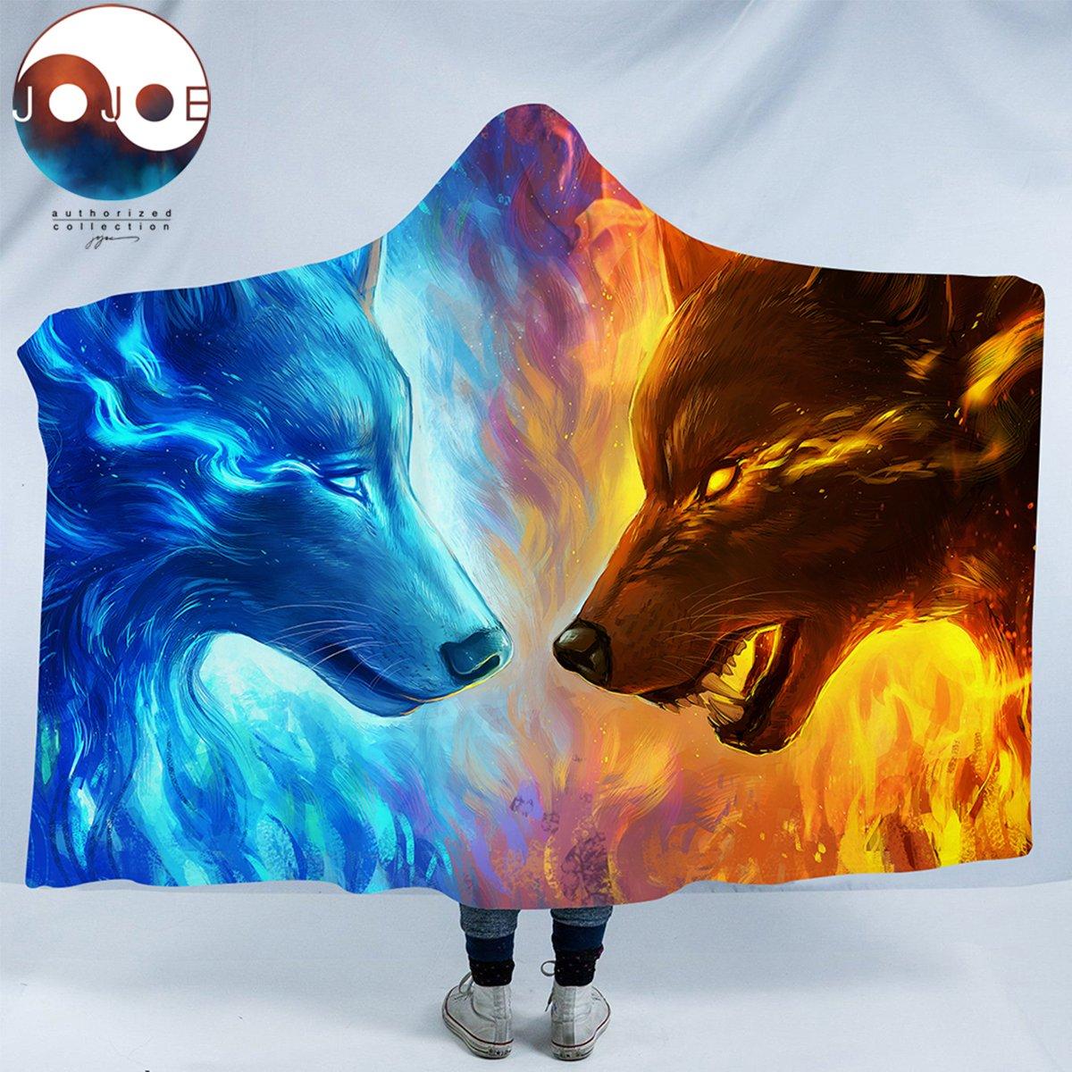 Sleepwish Fire and Ice by JoJoesArt Wolf Blanket Mens Hooded Blanket Blue and Orange Wolves Sherpa Blankets 80''x 60'' by Sleepwish