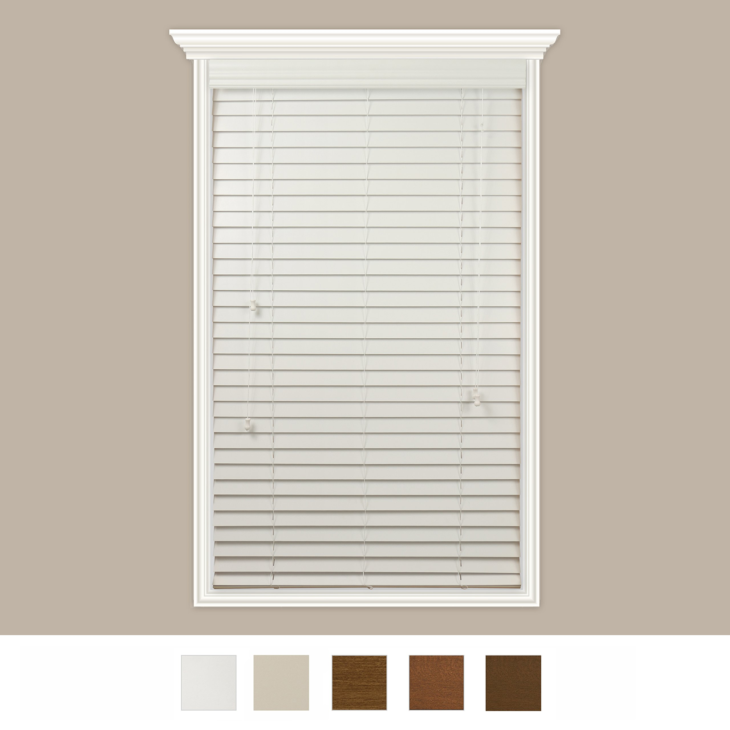 Custom-Made Real Wood Horizontal Window Blinds With Easy Inside Mount - 22'' x 36'' - 2'' Wooden Slats - Premium Quality Basswood - Pure White - By Luxr Blinds