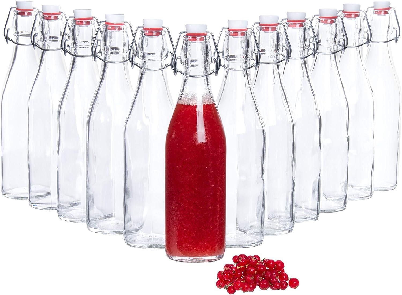 Bormioli Botellas de vidrio con 'Giara' 12 piezas Capacidad de llenado 500 ml Altura total 26,5 cm | Perfecto para añadir aceites, refinar o servir agua, jugos y vinos