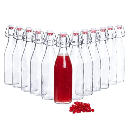 Bormioli Botellas de vidrio con Giara 12 piezas Capacidad de llenado 500 ml Altura