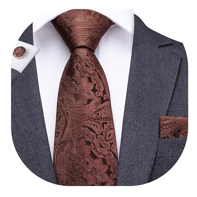 Dubulle - Juego de corbata y pañuelo de bolsillo para hombre con gemelos y caja de regalo