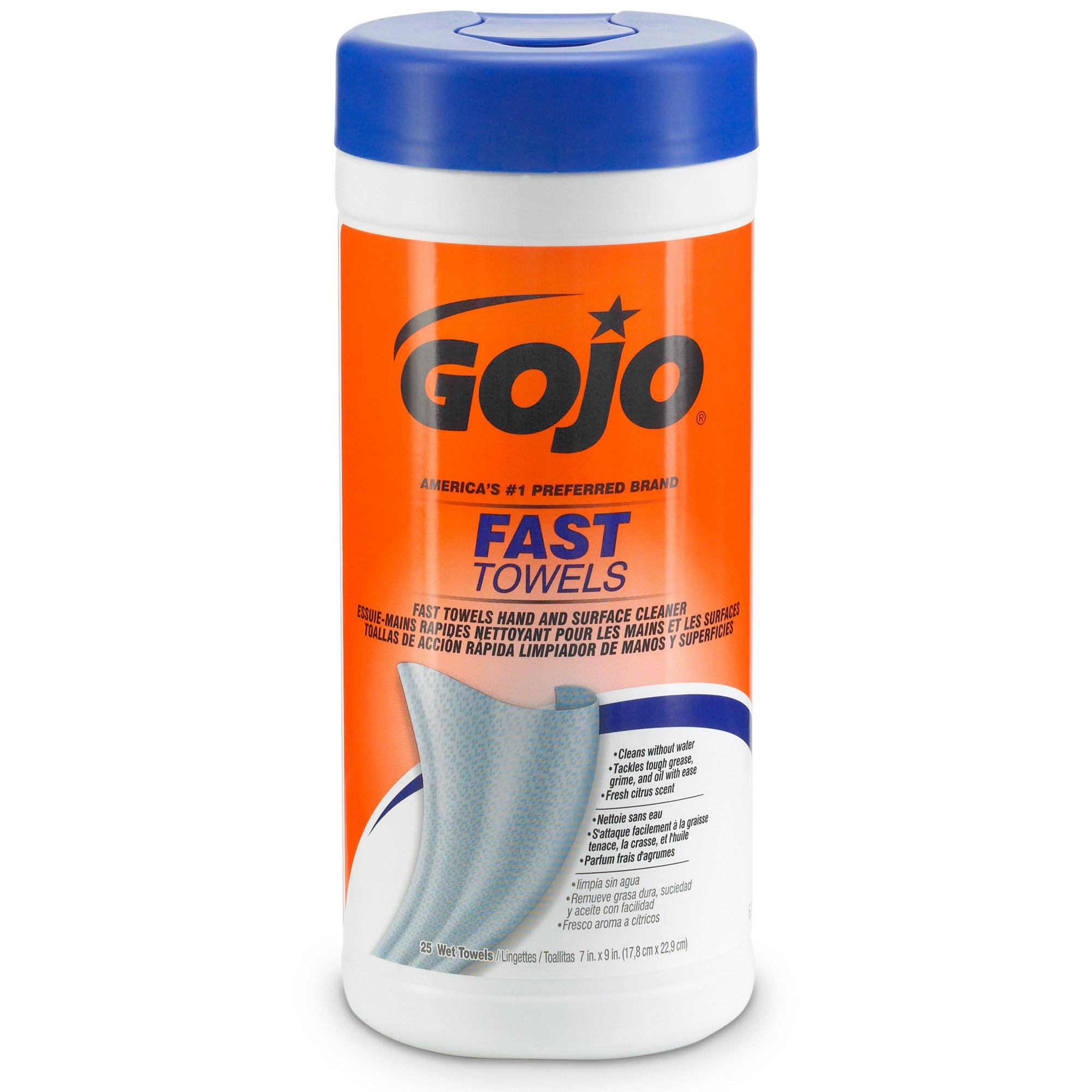 GOJO 6282-06 Fast Wipes Hand Cleaning Towel, 25 Count Canister (Pack of 6)