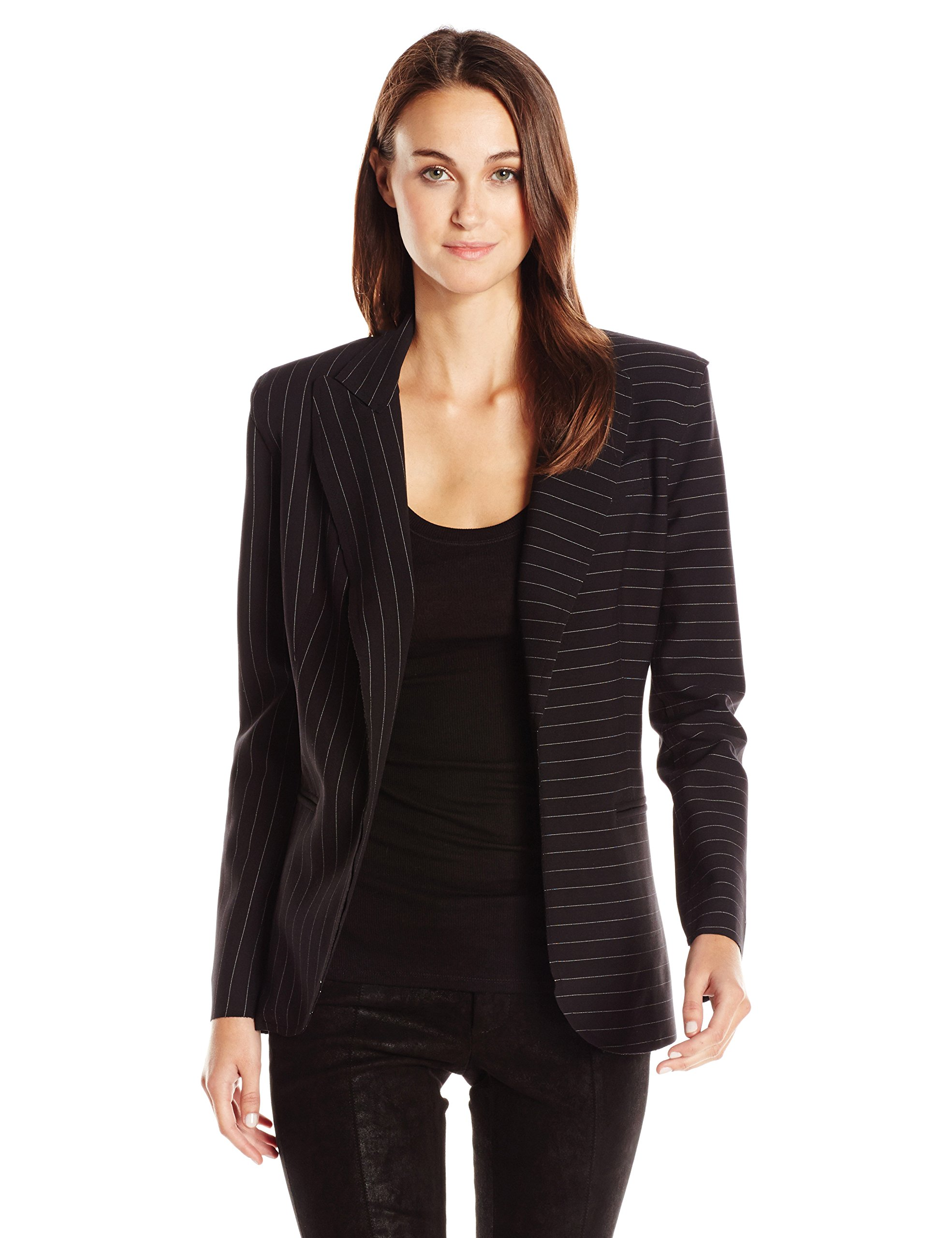 Norma Kamali Women's Single Breasted Jacket Bonded, Black Pinstripe, 10