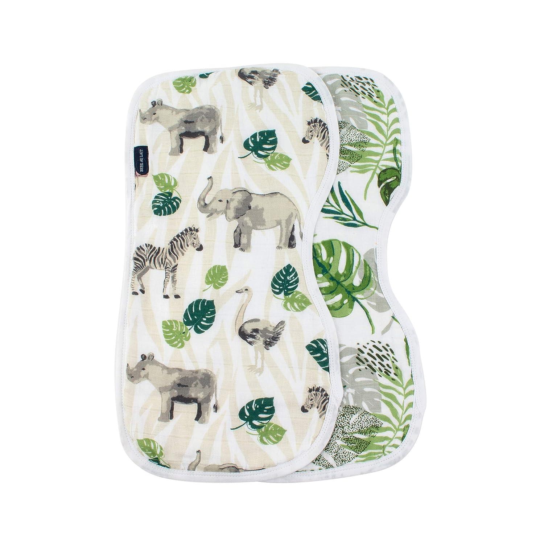2 Pack Bebe au Lait Jungle Rainforest Muslin Burp Cloths One Size Green