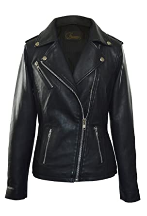 3581806d87f6 Image Unavailable. Image not available for. Color  Faneema Women s Neva Asymmetrical  Moto Leather Jacket