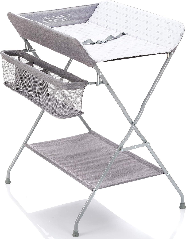 Fillikid Mueble Cambiador Plegable bebe - Cambiador, cinturón de seguridad y compartimentos de almacenamiento, ahorro de espacio y estabilidad - puntos grises