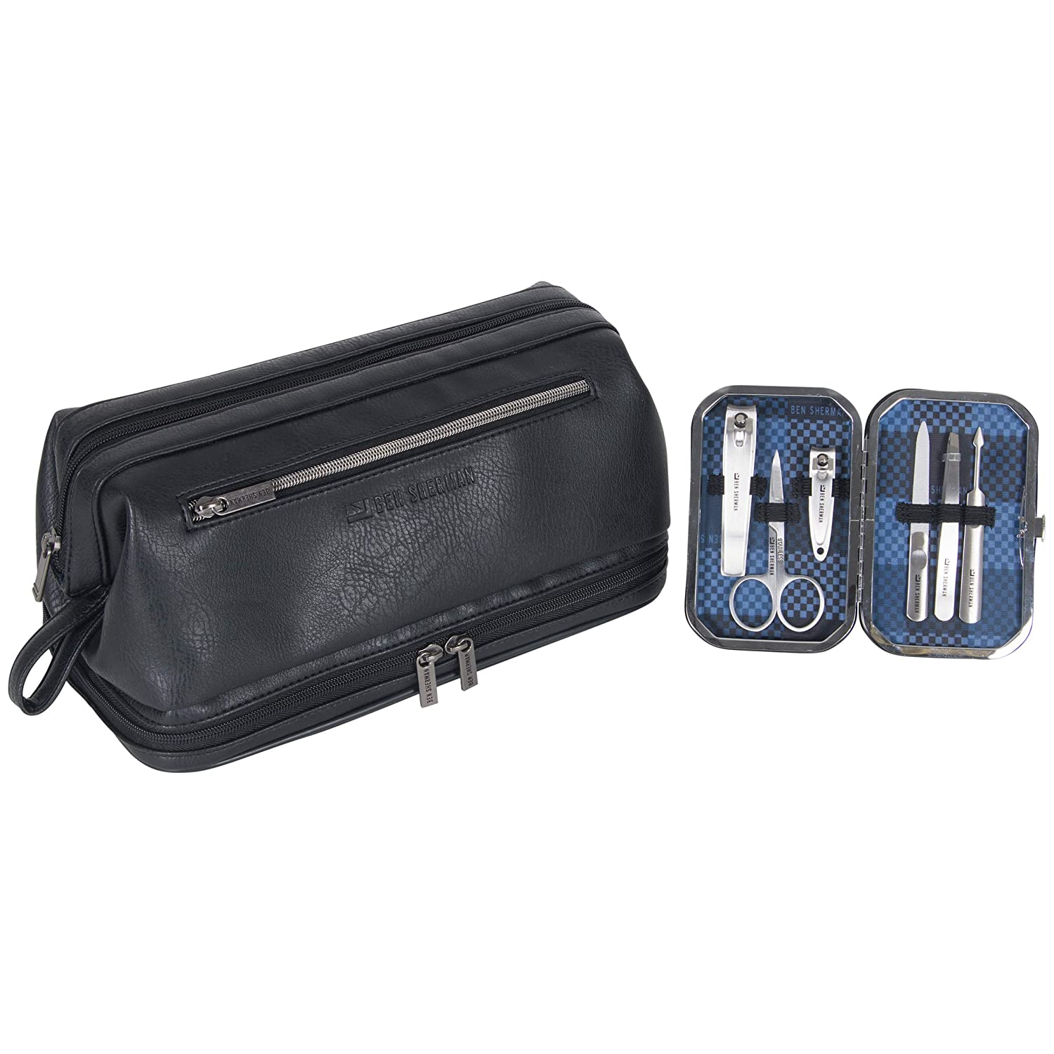 Ben Sherman Noak Hill Collection Vegan Leather Toiletry Travel Kit, Black, 2PC Set: Industrial & Scientific