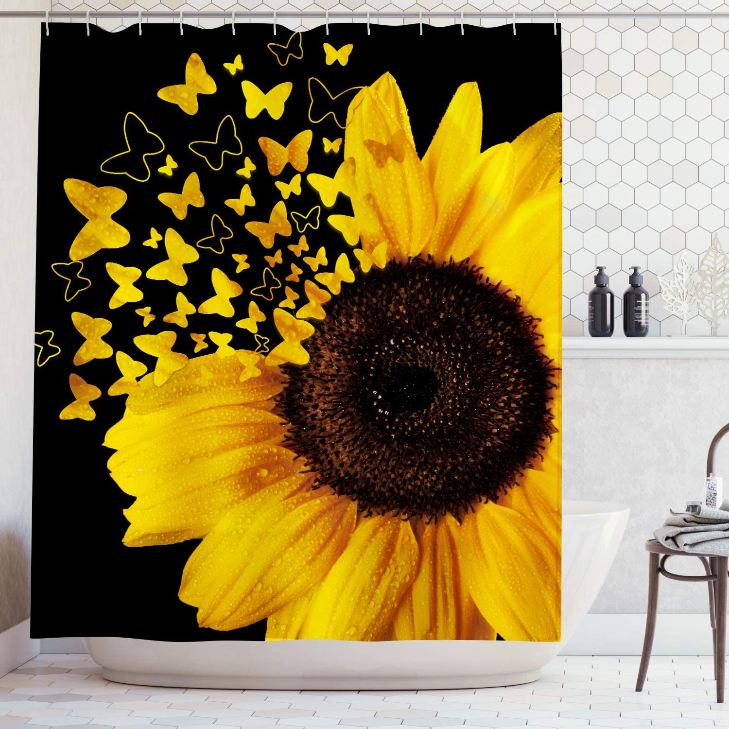AMBZEK Sunflower Shower Curtain Butterfly Blooming Wild Flower Floral Spring Plants Rustic Nature Artwork Cloth Fabric Bathroom Decor Set with 12 Pack Hooks 60x71 inch, Black Yellow