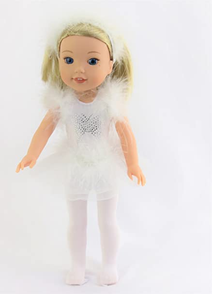 """b47d1b122 American Fashion World 14.5 INCH DOLL White Butterfly Ice Skating Outfit    Fits14"""" Dolls - Fits 14 inch Dolls such as the Wellie Wishers"""
