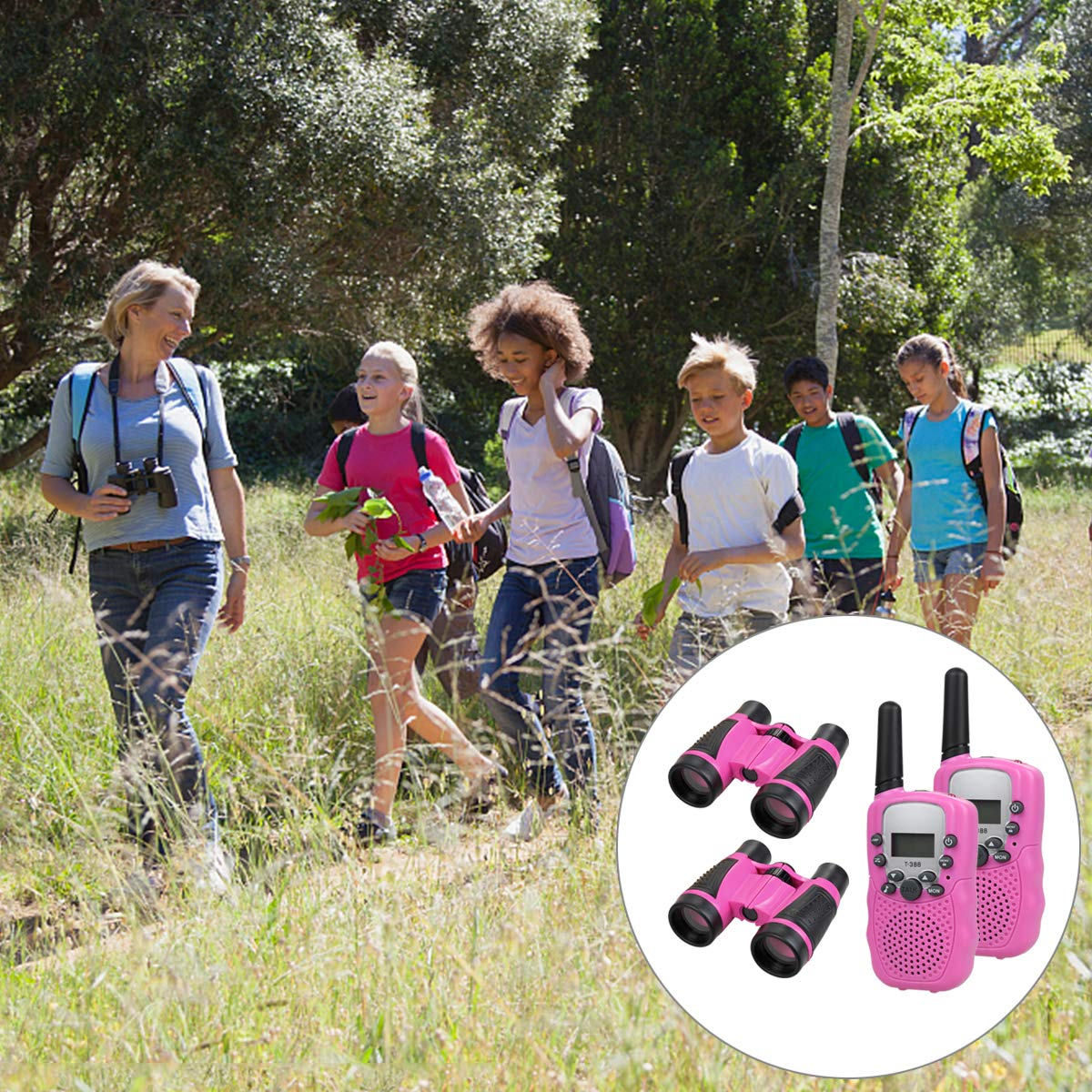 Anpro walkie talkies and Telescope Sets for Kids, 22 Channel 2 Way Radio 3 Mile Long Range Handheld Kids Walkie Talkies, Best Gifts & Top Toys for Boy & Girls for Outdoor Adventure Game(Pink) by Anpro (Image #6)