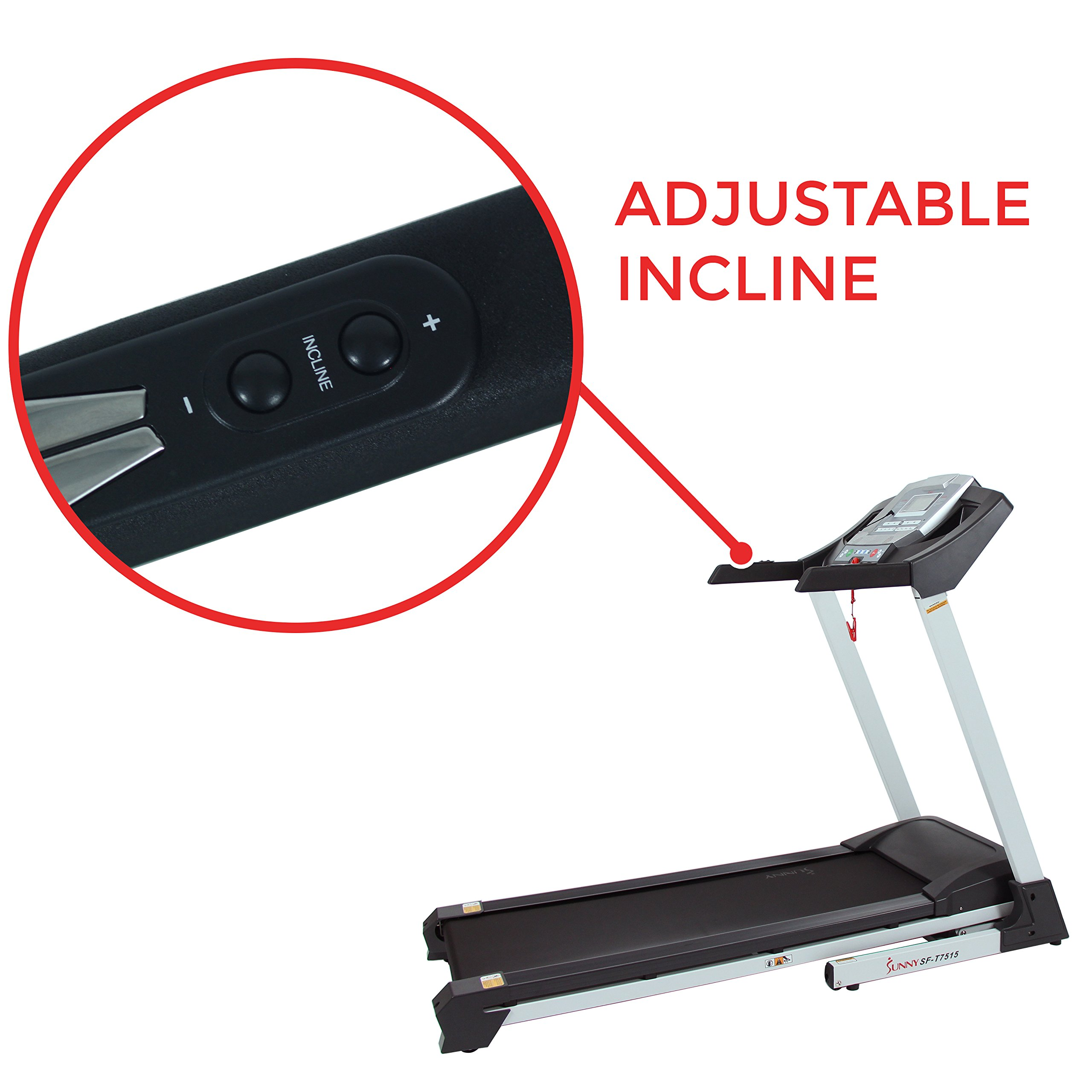 Sunny Health & Fitness SF-T7515 Smart Treadmill with Auto Incline, Bluetooth and BMI Calculator by Sunny Health & Fitness (Image #5)