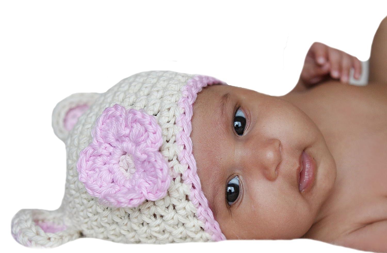 Melondipity Baby Hats - Gorrito para bebé , de crochet, diseñ o de oso, color blanco y con ribete y flor de color rosa, para niñ as pink, white Talla:recié n nacido white Talla:recién nacido