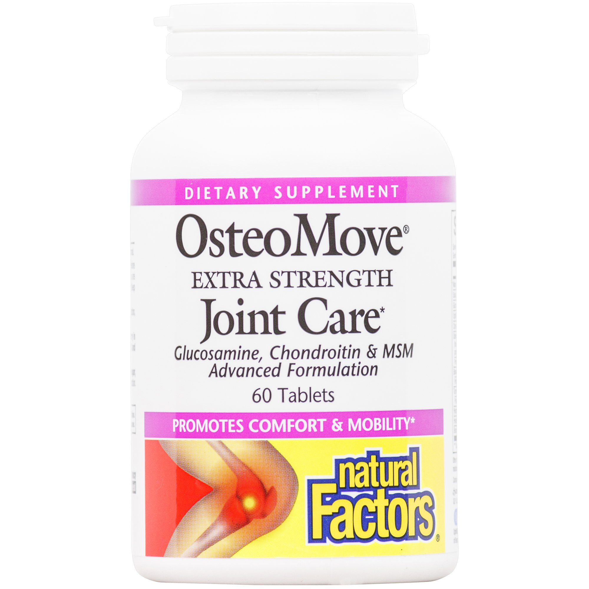 Natural Factors - OsteoMove Extra Strength Joint Care, Promotes Comfort and Mobility with Glucosamine, Chondroitin, and MSM, Gluten Free, 60 Tablets