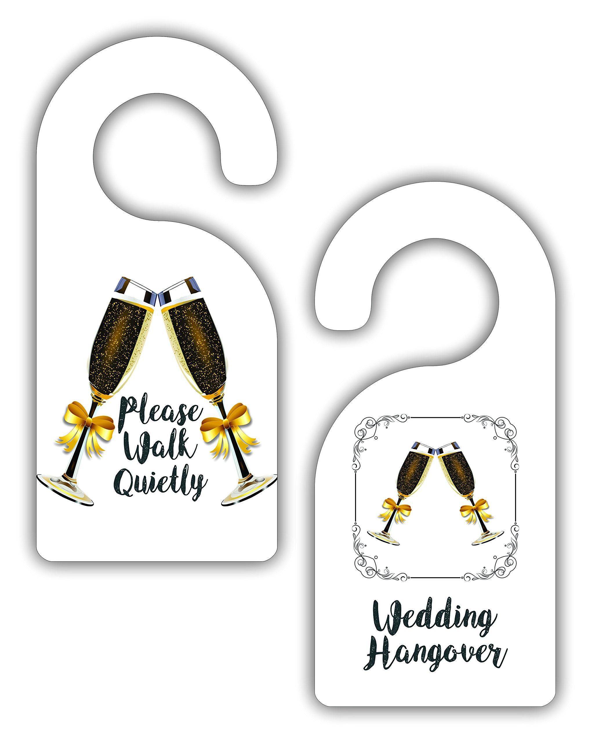 Please Walk Quietly - Wedding Hangover - Wedding Hotel / Bedroom / Room Door Sign Hanger Favor - Double Sided - Hard Plastic - Glossy Finish