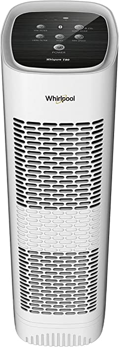 Whirlpool Whispure WPT80P True HEPA Air Purifier, Activated Carbon Advanced Anti-Bacteria, Ideal for Allergies, Odors, Pet Dander, Mold, Smoke, Smokers, and Germs, Large, White