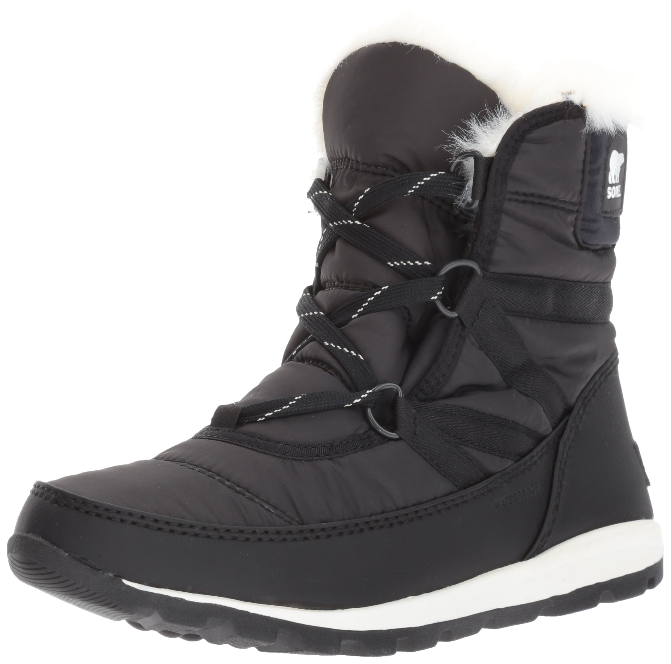 Sorel Women's Whitney Short Lace Snow Boot, Black, Sea Salt, 8 M US