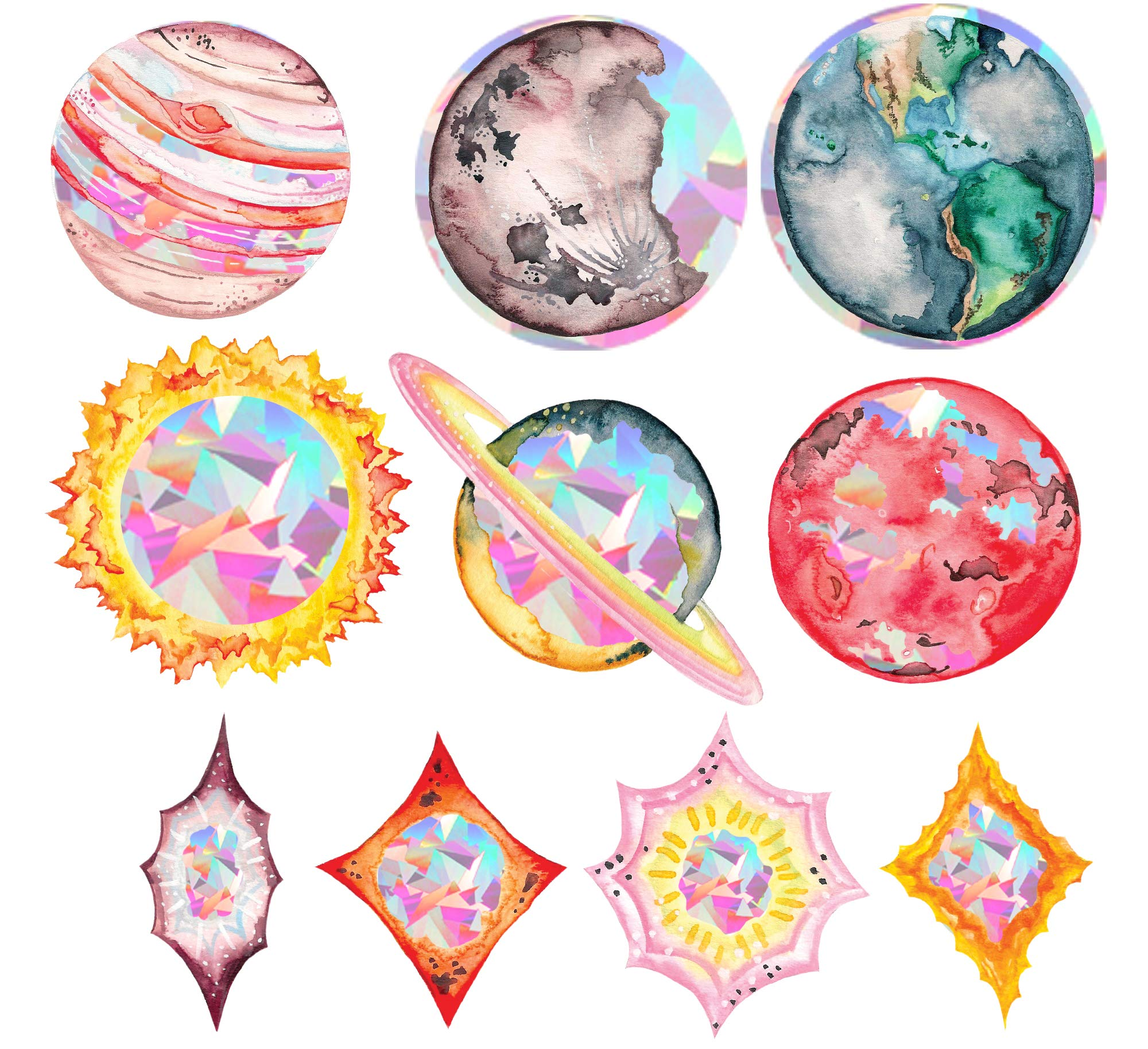 Rainbow Symphony Window Decals – Space and Planet Sun Catcher Series – Holographic Rainbow Window Stickers