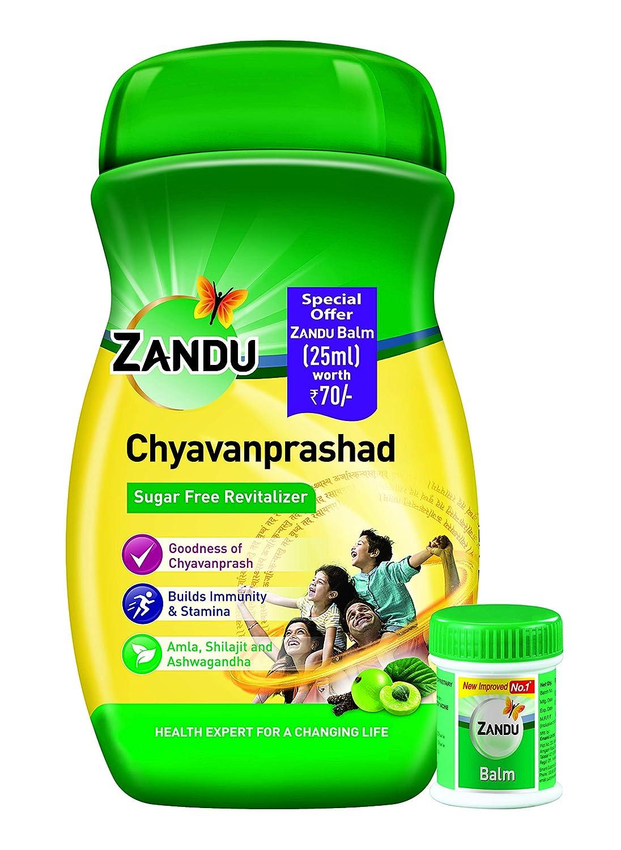 Zandu Chyawanprashad, Sugar-Free Immunity Builder - 900 g with Zandu Balm -25 ml