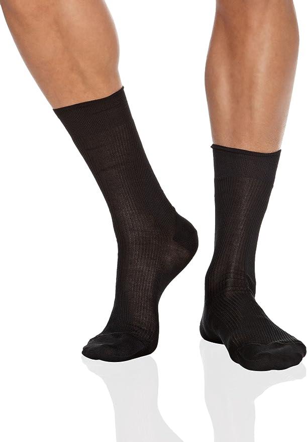 Falke Mens No10 Pure Fil dEcosse Smooth Ribbed Knit Socks Brass Beige