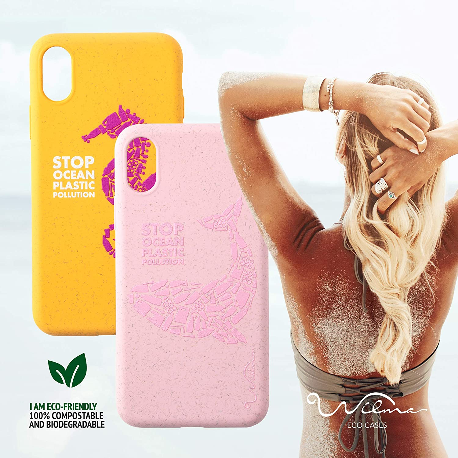 Fully Protective Phone Cover Plastic-Free Matte Manta Stop Ocean Plastic Pollution Non-Toxic Zero Waste Wilma Eco-Friendly Biodegradable Compatible with iPhone 11 Case
