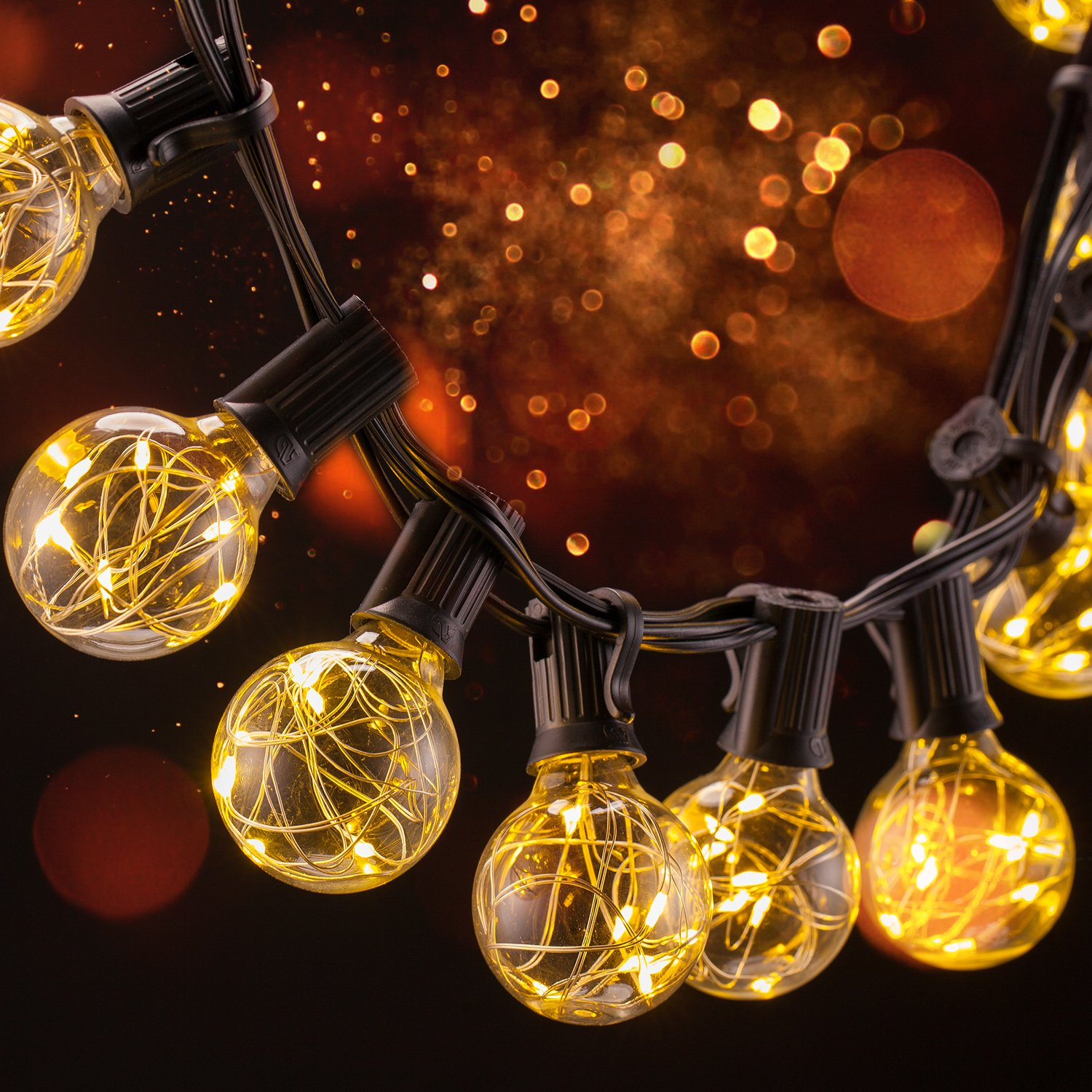 Apsung String Lights, 25 LED G40 Bulbs, UL listed Backyard Patio Lights, Hanging Indoor / Outdoor String Light for Patios, Parties, Weddings, Gazebos, Pergolas & More - Warm White