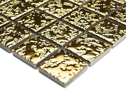 Mosaico piastrelle di rete parete uni oro martellata ceramica
