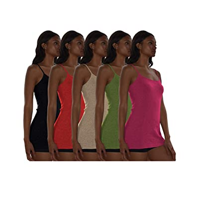 Sexy Basics Women's 5 Pack / 12 Pack Basic Solid Color Cotton Stretch Camisole Adjustable Spaghetti Strap Tank Top at Women's Clothing store
