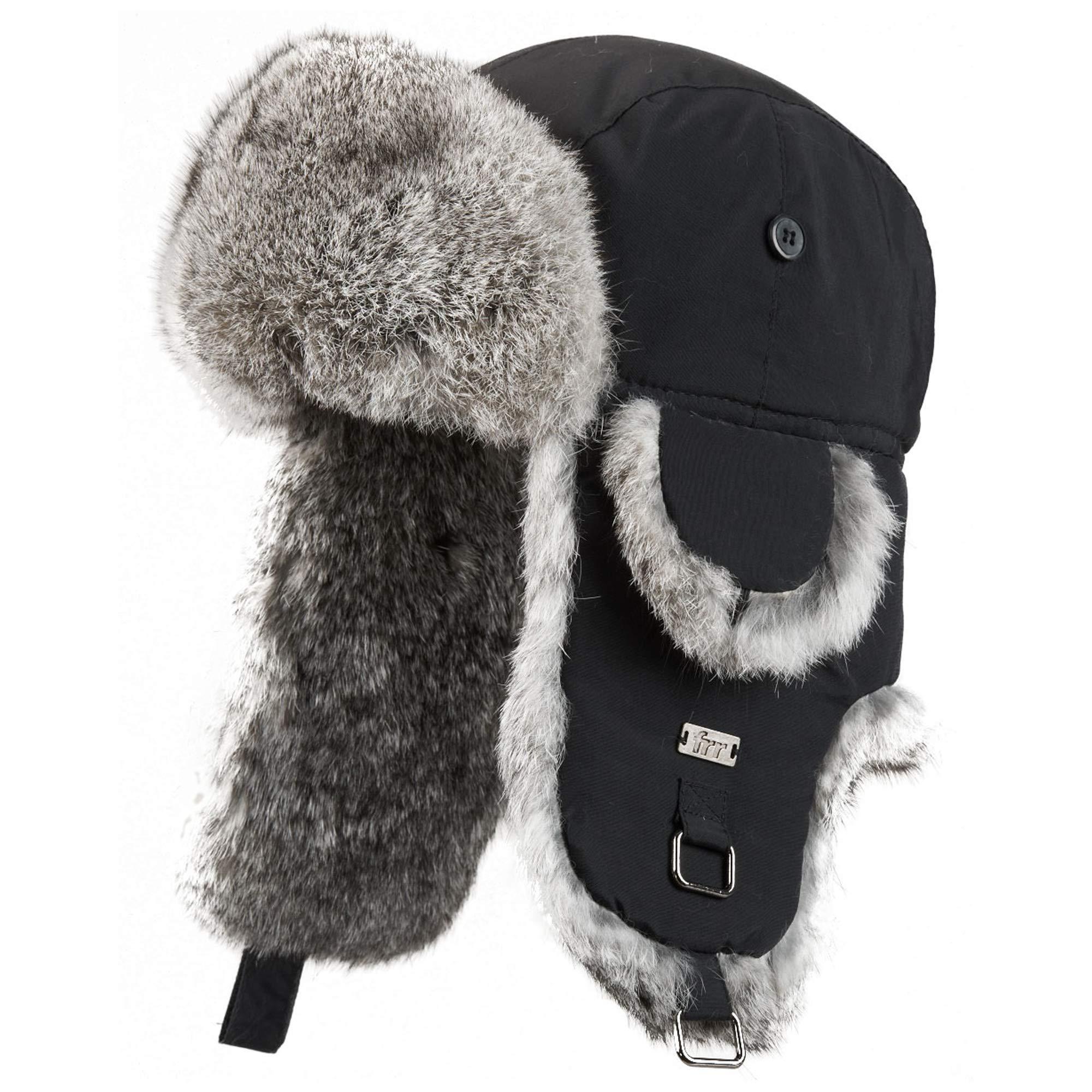 Kids Black with Grey Rabbit Fur Aviator Hat