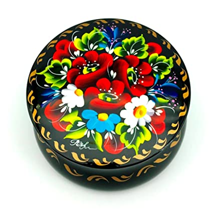 UA Creations Round Box for Jewelry for Women and Girls with Flowers on Black Lacquer for