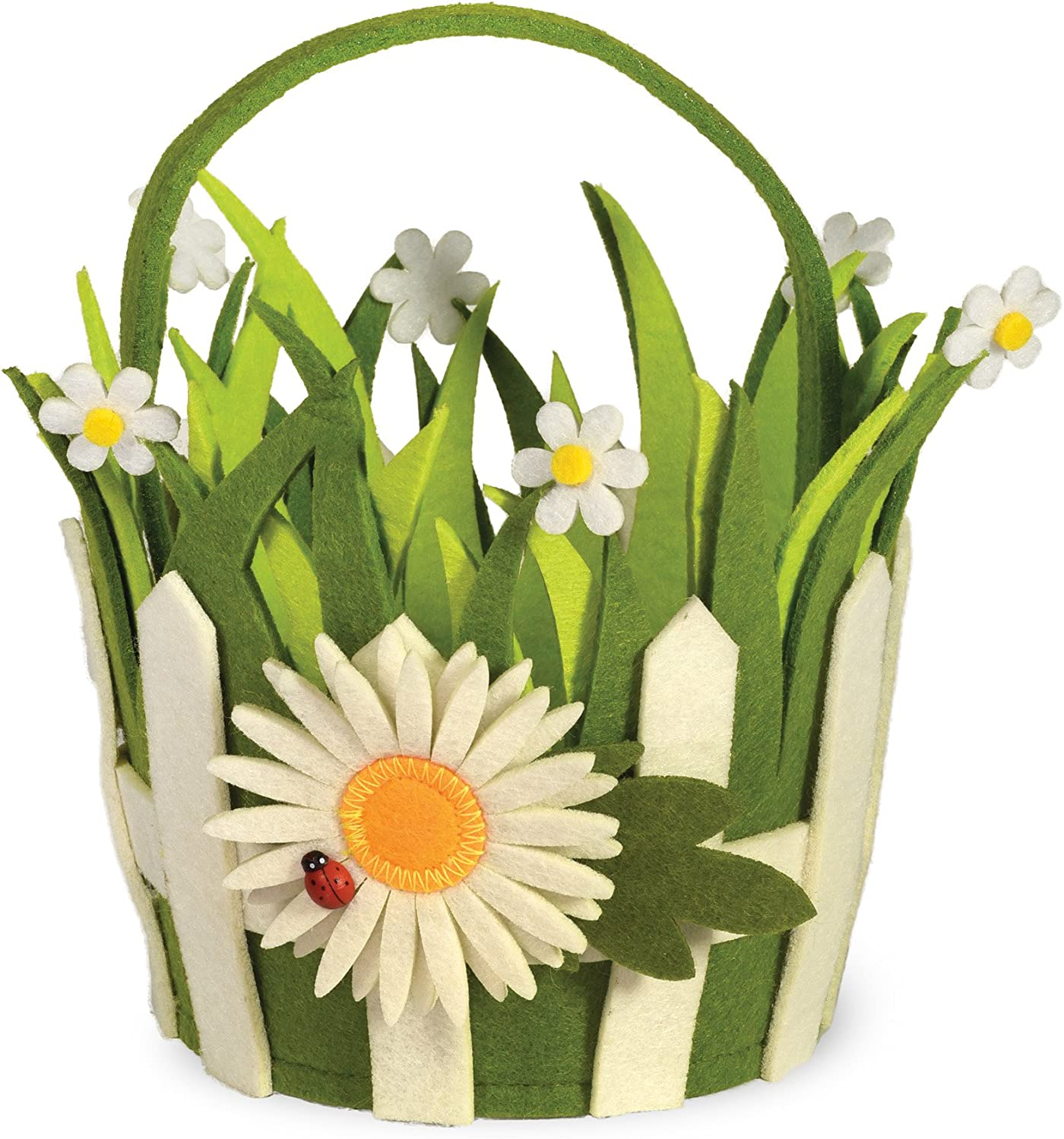 Boston International Daisy Picket Fence Felt Basket, Multicolor