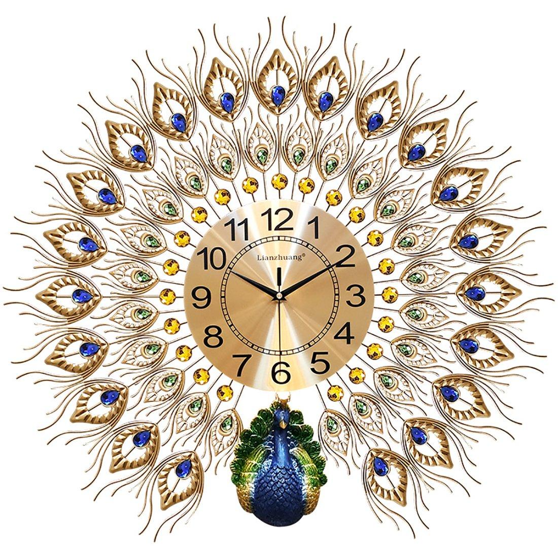 ホームアートピーコックウォールクロックパーラーヨーロッパの時計クリエイティブ時計ホームインテリアウォッチウォールクロックサイレント電子時計クォーツ時計 B07F2F6QQ8