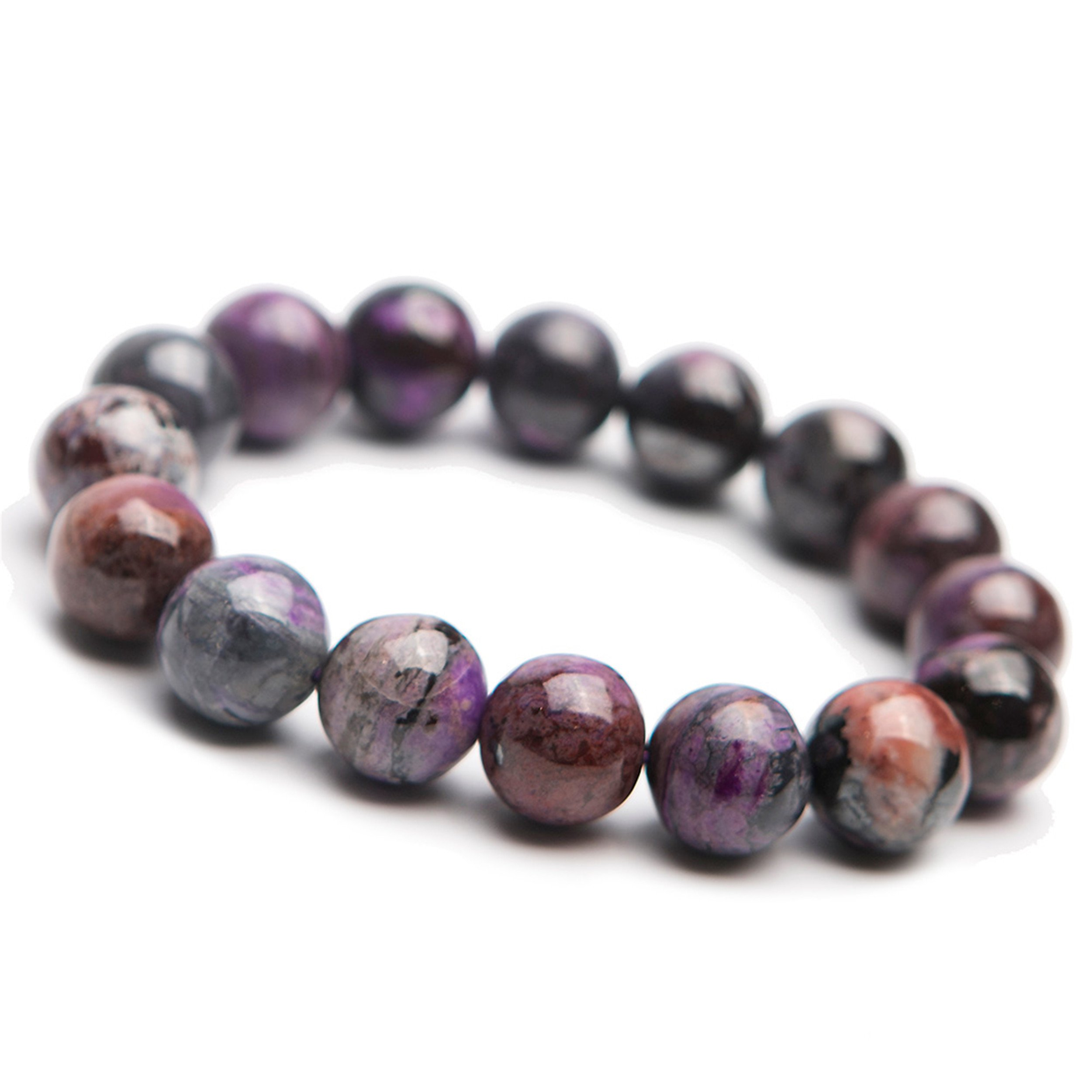 14mm Natural Genuine Purple Sugilite Gemstone Round Big Bead Stretch Bracelet