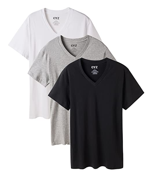 54579708 CYZ Men's V-Neck T-Shirt Undershirt Pack of 3 100% Cotton at Amazon Men's  Clothing store: