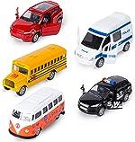 KIDAMI Die-cast Metal Toy Cars Set of 5, Openable Doors, Pull