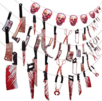 Scary Halloween Party Hanging Banner Outdoor Garland Haunted House Props Decor