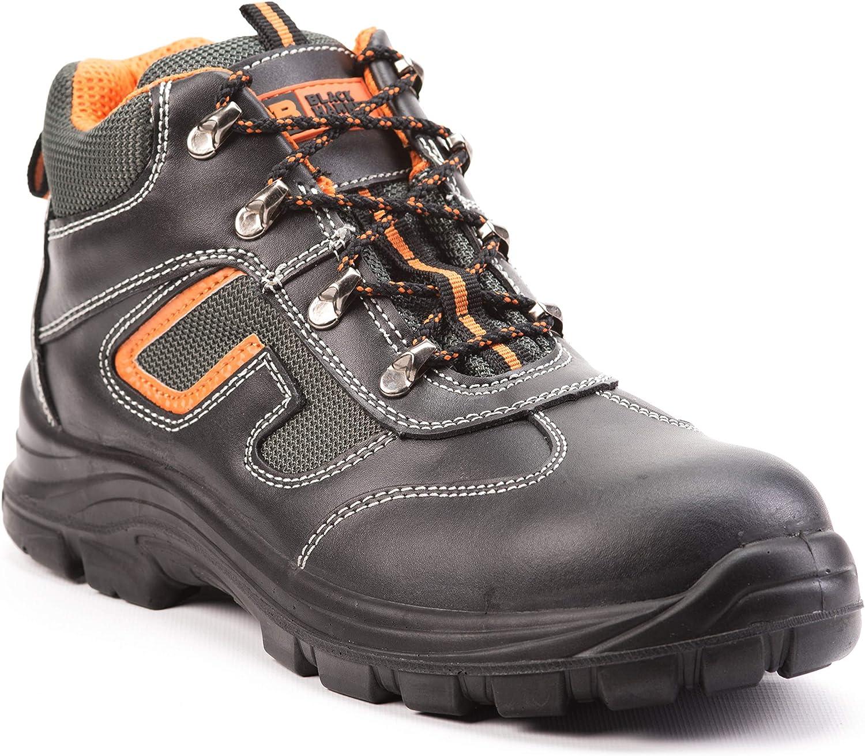 Botas de Seguridad de Cuero para Hombres Botas de Seguridad para hombresPuntera de Acero S3 SRC Calzado de Trabajo al Tobillo de Cuero 6652 Black Hammer