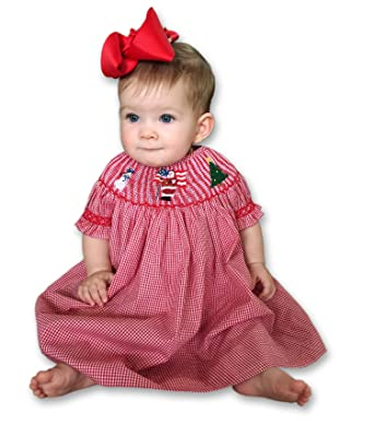 6e09f80eac704 Amazon.com  Baby Girls Red Christmas Bishop Dress with Smocked Santa Claus  Tree and Snowman  Clothing