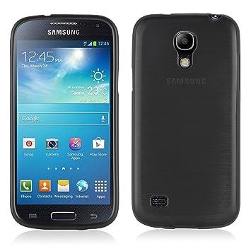 Cadorabo de de 104573 Samsung Galaxy S4 Mini (i9190) Funda Carcasa de TPU Silicona en Aspecto Acero Inoxidable Cepillado (Pulido), Color Negro