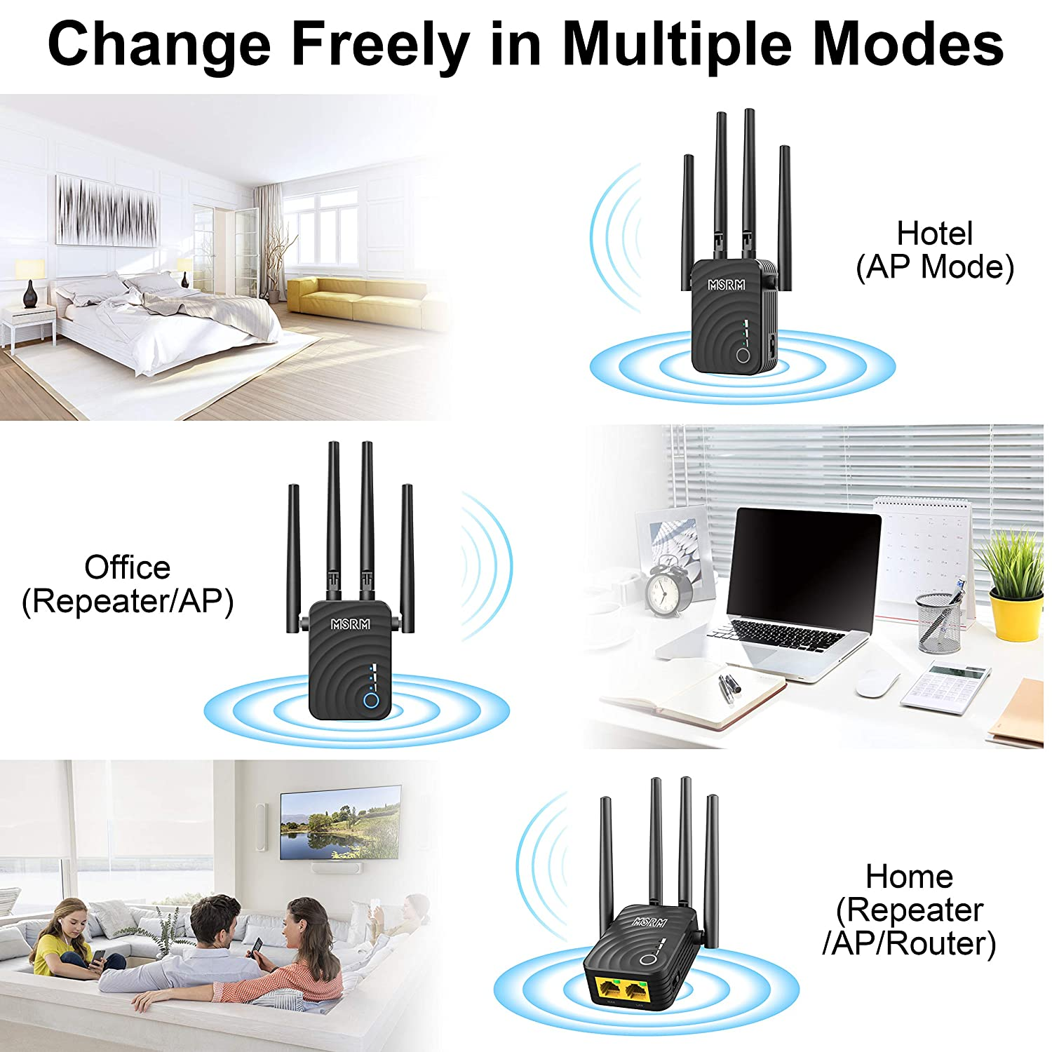 MSRM US754 Long Range Extender 1200Mbps WiFi Repeater Signal Amplifier Booster with 4 Band Antennas Complies 802.11a//b//n//g//ac WiFi Extender