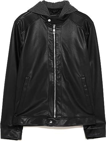 Zara Men Contrasting Faux Leather Jacket 4315401 Black