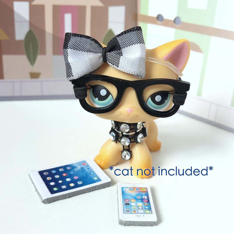Littlest Pet Shop Accessories LPS Lot CUSTOM Bow Nerd Glasses CAT NOT INCLUDED …