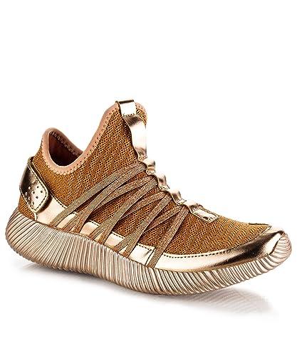 d62f6cfd8a Amazon.com | CAPE ROBBIN Women's Fashion Metallic Glittery Ultra Light  Weight Flyknit Low Top Lace up Knit Sneaker - NE2 Coral (6) | Fashion  Sneakers