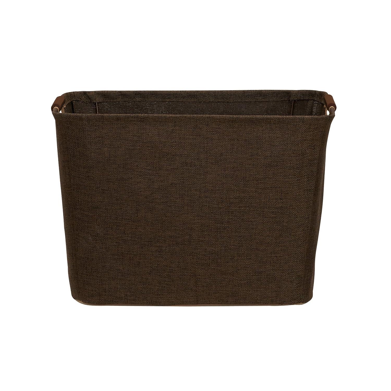 Household Essentials 601 Medium Shelf Basket with Wood Handles | Multi-Purpose Home Storage Bin | Brown Coffee Linen